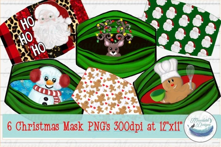 Christmas Mask Designs, PNG for sublimation