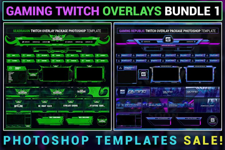 Gaming Live Stream Twitch Overlay Package Bundle 1