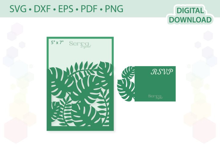 5 x 7 Tropical Wedding Invitation SVG DXF EPS PDF PNG
