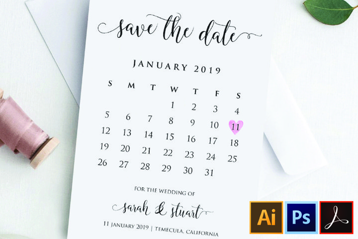 Calendar Save the Date Template Printable save our date