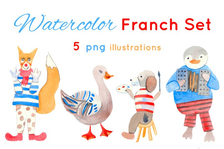 Watercolor French set of illustrations