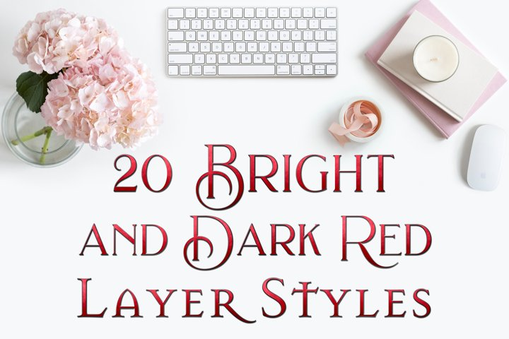 20 Bright and Dark Red Layer Styles for Photoshop