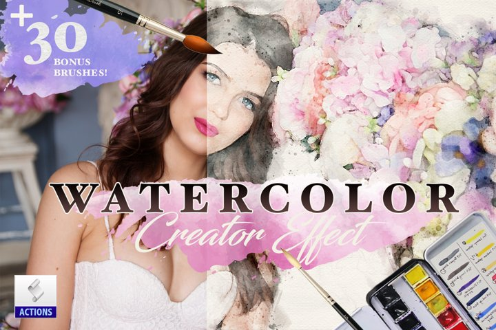 Watercolor Sketch Creator Effects Photoshop Action Bundle