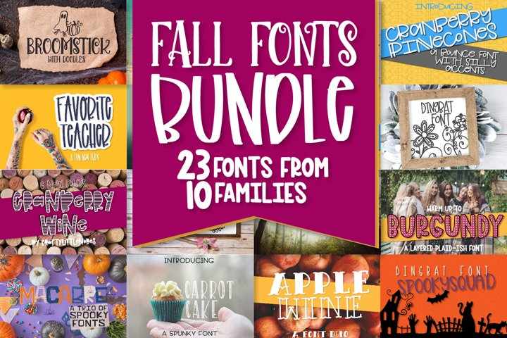 Fall Font Bundle - 23 Cut Friendly Fonts!