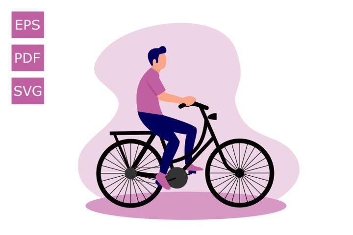 Flat Illustration Human Cycling