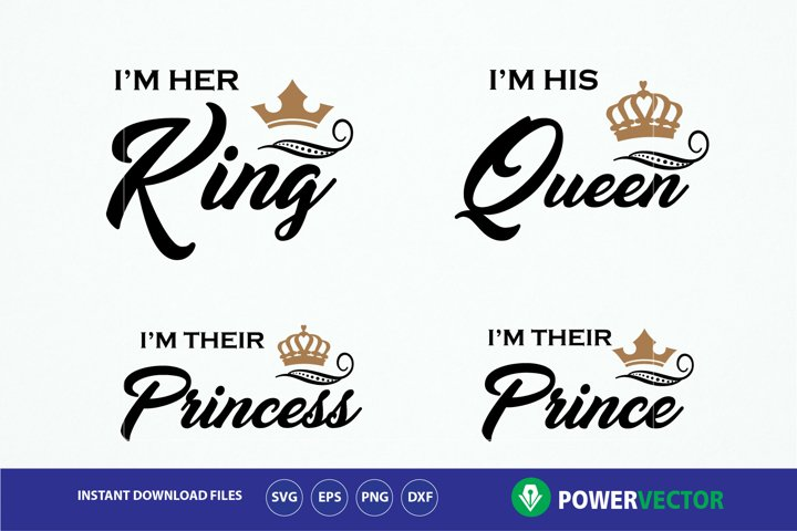 King Queen Princess Prince T shirts SVG Cuttable Design. Royal Family Shirt Vinyl Cut File - Svg Dxf Png. Crowns Svg T shirt Iron on File