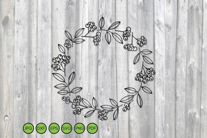 Berry Wreath SVG. Cut Files. Christmas frame. Autumn border