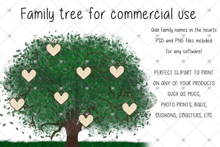Family Tree clipart, Watercolour clipart, Tree clipart,