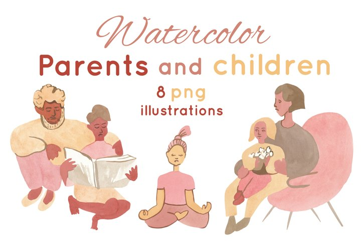 Watercolor parents and children illustrations