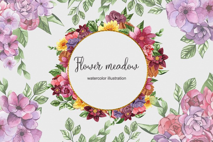 Floral watercolor set PNG illustrations