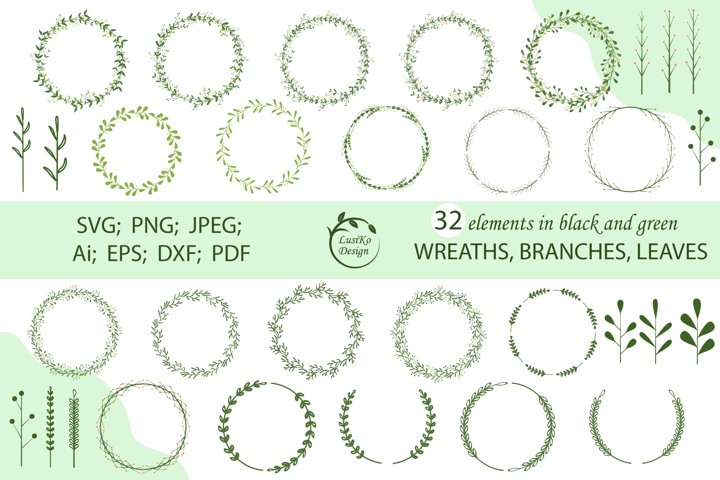 Wreath bundle SVG, PNG, JPG floral frames, borders