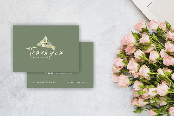 flower card, Business Thank You Template
