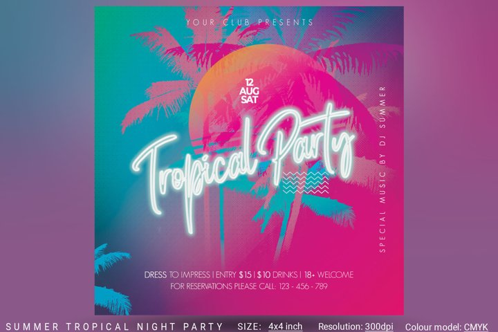 Summer Tropical Night Party