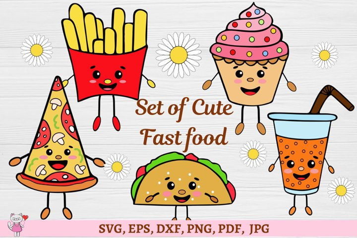 Fast food clipart, cute kawaii svg design SVG cut files