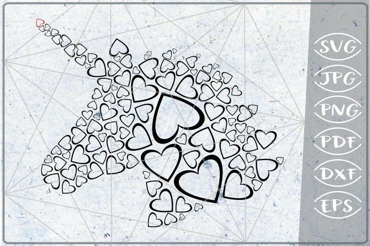 Unicorn Silhouette Head Red Hearts Print in Heart SVG Love