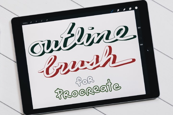 Outline Brushes for Procreate, Lettering brushes