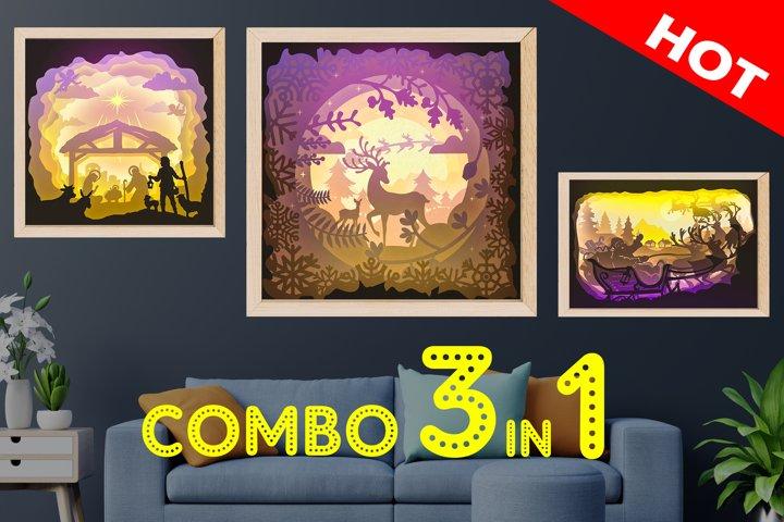 COMBO Merry Christmas - Santa clause Christmas 3D Shadow box