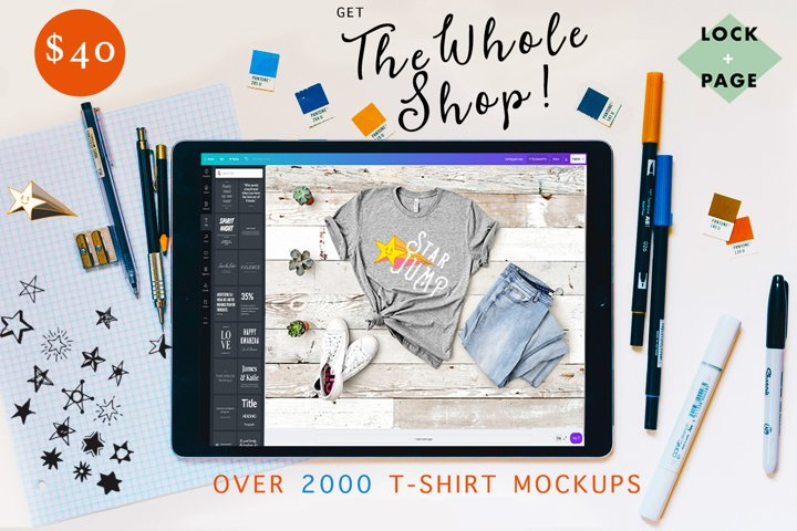 The Whole Shop - Lock & Page T-Shirt Mockup Bundle - On SALE