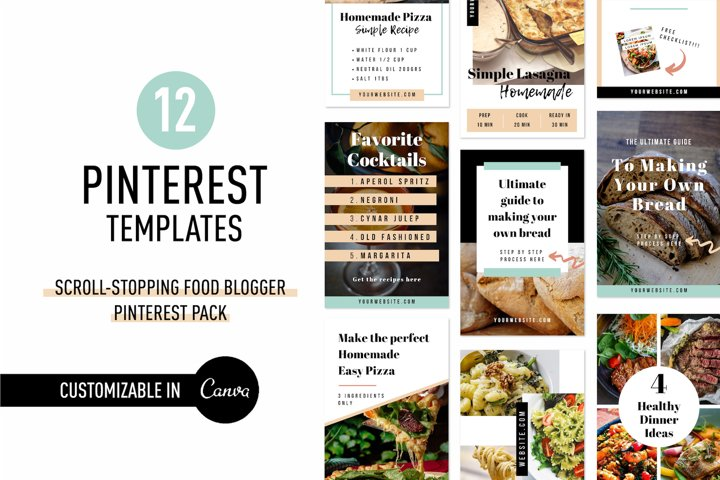 Scroll Stopping Food Blogger Pinterest Pin Pack | Canva