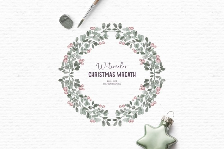 Hand-drawn watercolor Christmas clipart | Wreath clipart