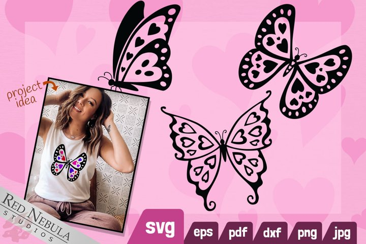 Heart Butterfly SVG   Cute Valentines Day Butterflies Set