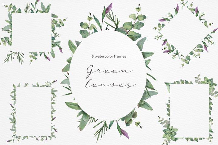 Green Leaves watercolor frames.