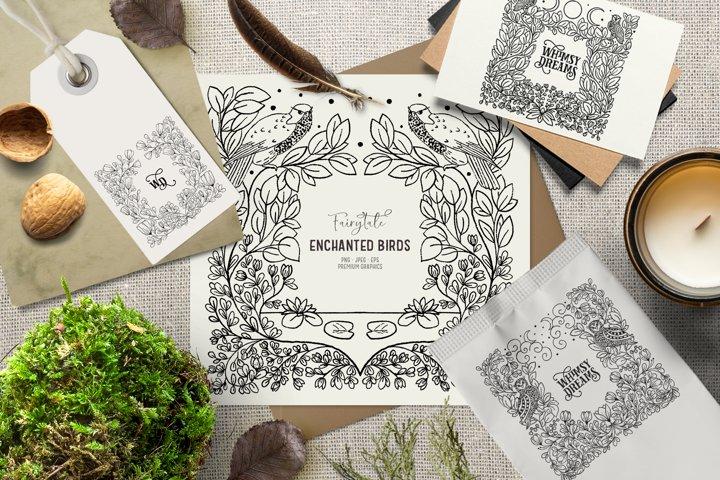 Hand-drawn vintage frame clipart| Mystical bird clipart