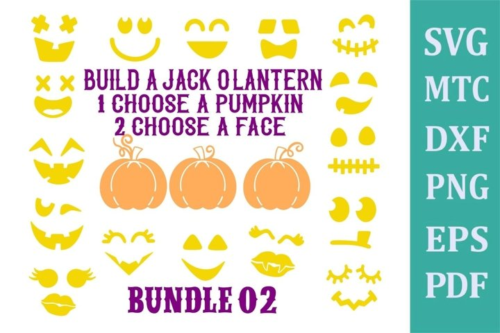 Jack OLantern Faces BUNDLE #02 Halloween Pumpkin