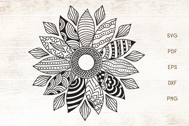 Sunflower Doodle Art - Zentangle - SVG - Vector