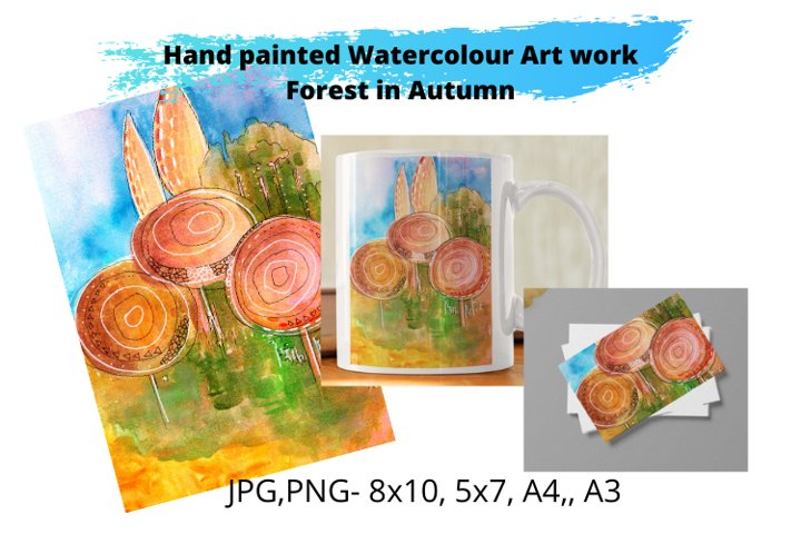 Watercolour Art Print- Forest in Autumn