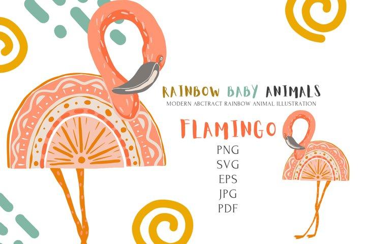 Safari Cute Baby Flamingo Rainbow