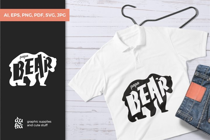Father's Day SVG Cut Files - Papa Bear example