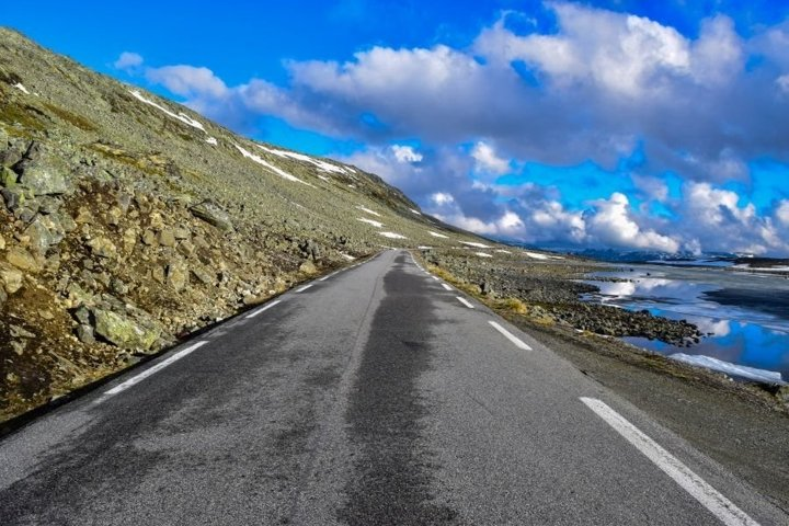 Scenic mountain road in Norway.