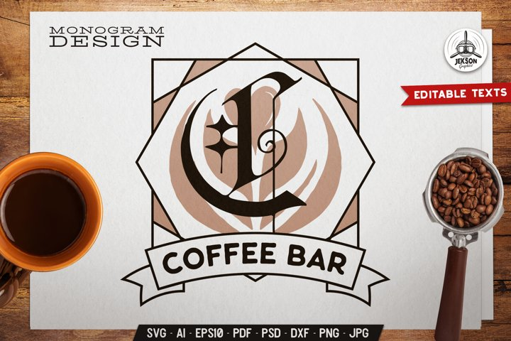 Coffee Bar SVG Monogram Design With Coffee Artwork & Ribbon