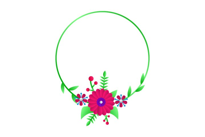 Modern Circle Frame Floral Template 03 Graphic