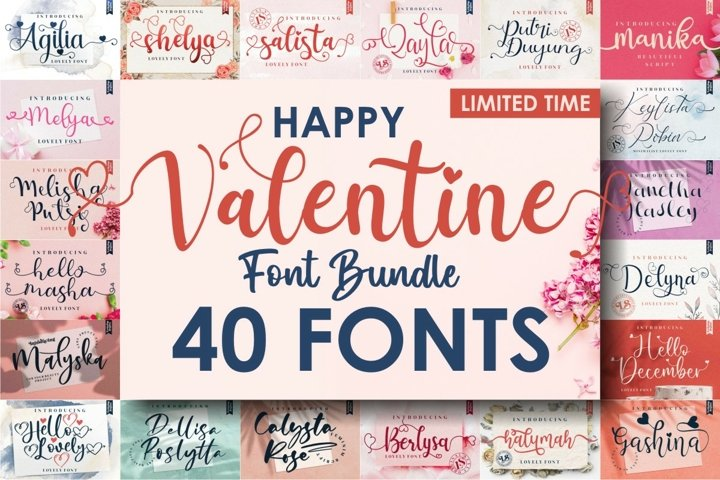 The 40 In 1 Happy Valentines Font Bundle - Special Price