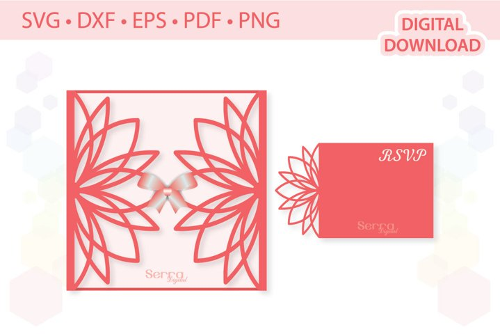 5 x 5 Floral Invitation Card SVG DXF EPS PDF PNG