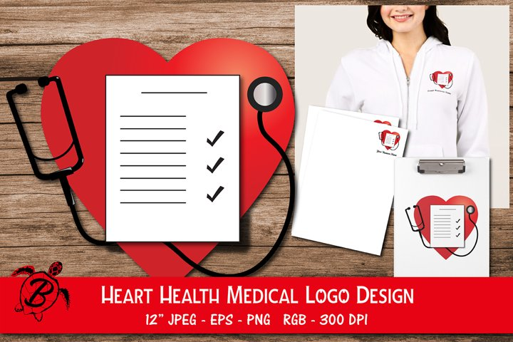 Heart Health Medical Logo Design | Stethoscope Heart Logo