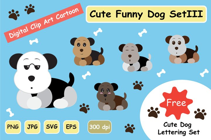 Cute Funny Dog SVG Clipart Digital Graphic Set 3