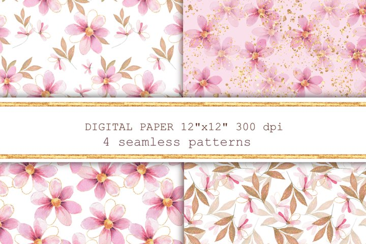 Pink and gold floral patterns