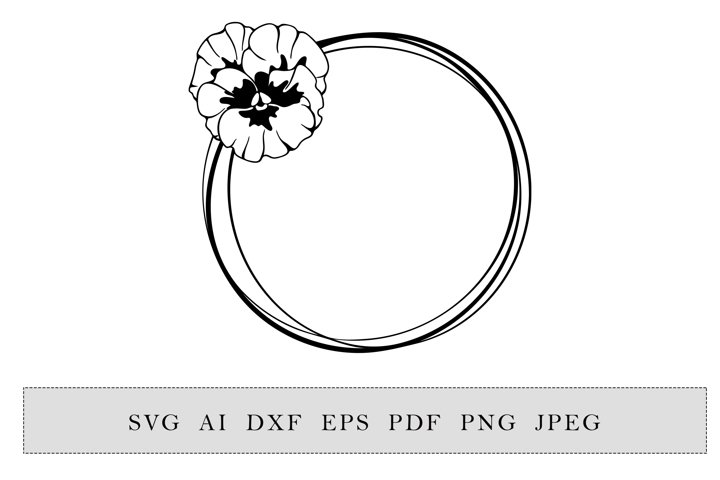 round frame with violet or pansies flowers