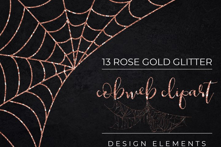 Rose Gold Glitter Halloween Spider Web Clipart-Cobweb PNG