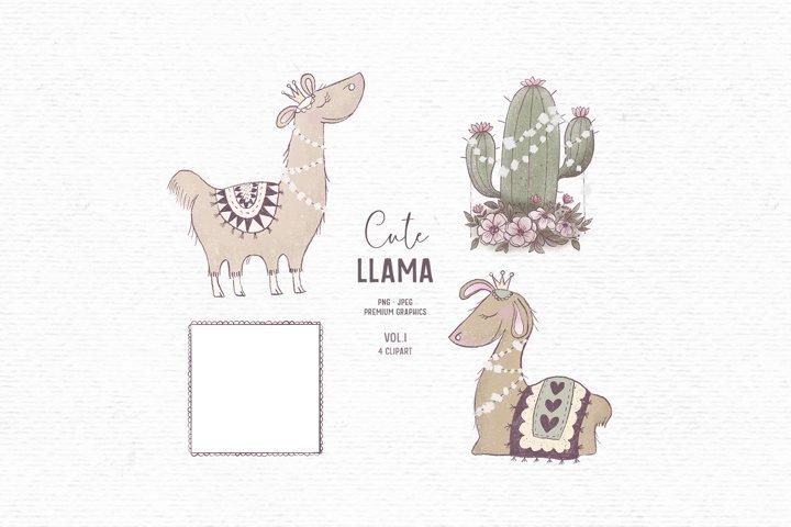 Hand-drawn cute llama clipart | Animal clipart for kids