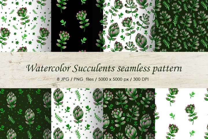 Watercolor succulents seamless patterns