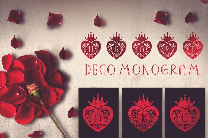 Heart Deco Monogram, valentine monogram for crafter
