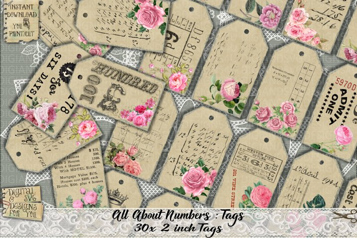 Vintage Tags | Numbers | Tags | Printable Tags | Number Tags