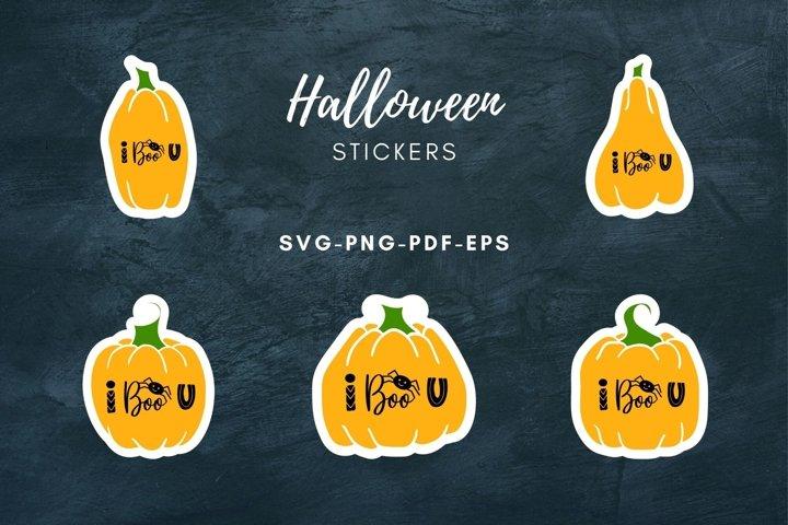 Halloween stickers I Boo U Love pumpkin stickers Print & Cut