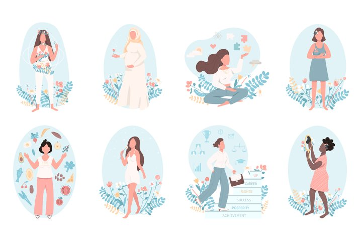 Women health flat color vector faceless character set example