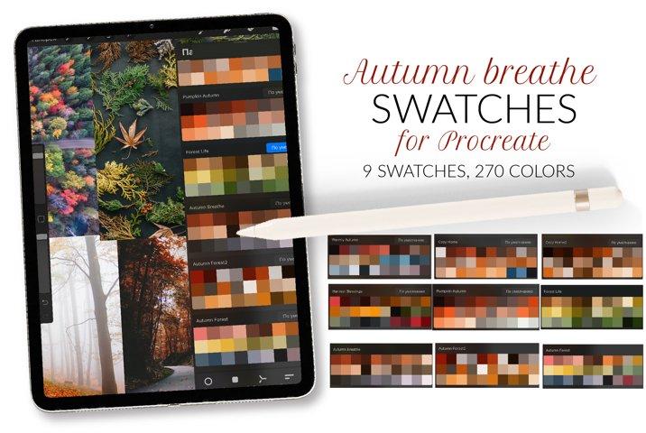 Autumn Procreate color palette. Autumn pumpkin swatches