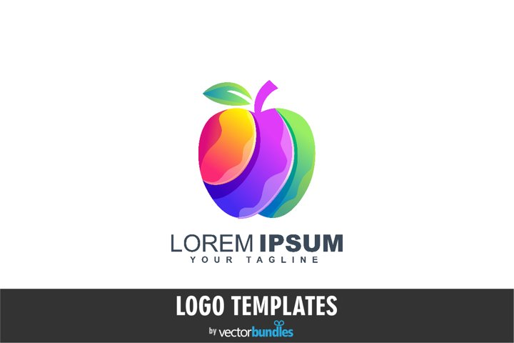 Colorful apple fruit logo design template